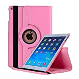 New iPad 2017 9.7' / iPad Air 2 Leather Case,360 Degree Rotating Stand Smart Cover with Auto Sleep Wake for Apple iPad Air or New iPad 9.7 Inch 2017 Tablet (Pink)