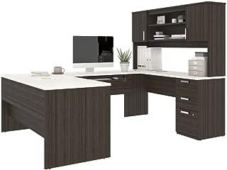 BESTAR U Shaped Desk with Pedestal and Hutch - Universel