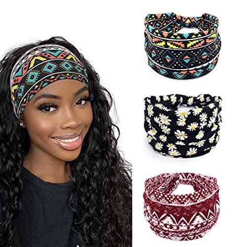 Yean Fascia per capelli con motivo a quadretti, elasticizzati, con turbante rosso, per donne e ragazze, confezione da 3
