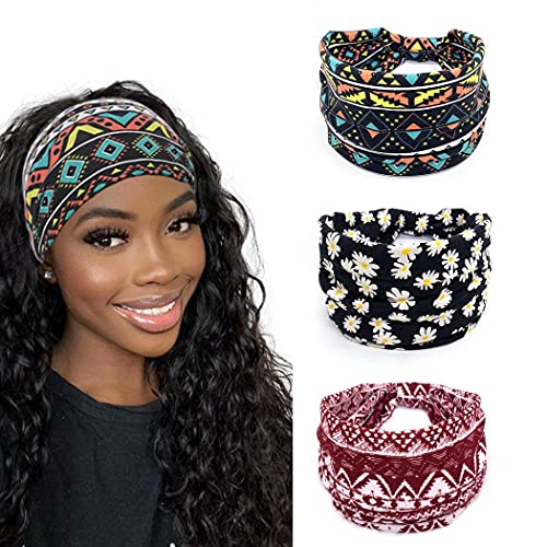 Yean Diadema de yoga con estampado ancho a cuadros bandas elásticas para el pelo rojo turbante para mujeres y niñas (paquete de 3)