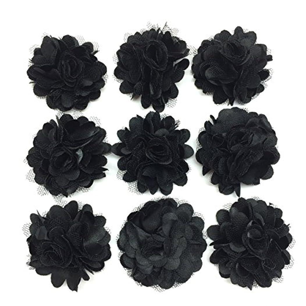 PEPPERLONELY 10PC Set Black Lace Chiffon Peony Fabric Flowers, 2 Inch