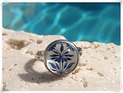 Elf House Anillo de sauce azul de cristal, anillo de arte de...