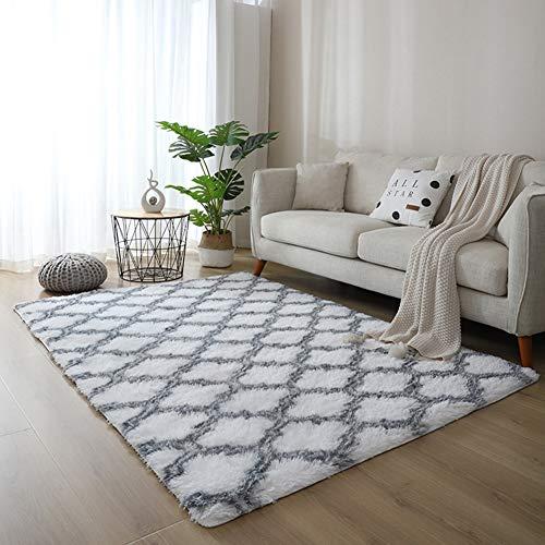 Eanpet Soft Decortive Area Rug 5'x7'Multi Color Non-silp Shag Carpets for Kids Living Room Bedroom Rugs Indoor Floor mat Yoga mat,StripeBlack