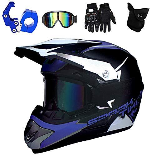 PKFG® Motorrad Crosshelm Kinder Blau, Moped Motocross Helm mit Brille Maske Handschuhe und Helmhaken, Abnehmbar Visier Offroad Enduro Helm für Mountainbike/Schneemobil/MTB/VTA, L (56~57CM)
