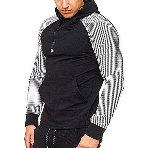 Sweat à Capuche pour Hommes Casual à Manches Longues Rayure avec Fermeture à Glissière Sweat-Shirts Tops de Sport Noir Blanc XL