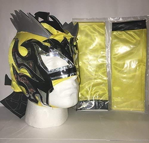 Super Gelb Kalisto - Reißverschluss Wrestling Maske & 2 Arm Ärmel - Brand Neu
