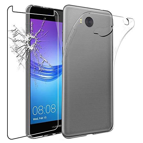 ebestStar - kompatibel mit Huawei Y6 2017 Hülle Handyhülle [Ultra Dünn], Durchsichtige Klar Flex Silikon Schutzhülle, Transparent + Panzerglas Schutzfolie [Y6 2017: 143.8 x 72 x 8.4mm, 5.0'']