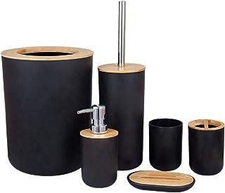 Kamenda Ensemble D'accessoires de Salle de Bain, Brosse de Toilette, Porte-Brosse à Dents, Tasses, Porte-Savon, Poubelle, ...