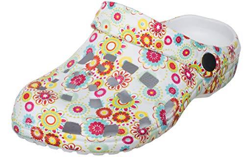 Brandsseller - Zuecos para mujer con suela antideslizante, calzado para estar por casa, diseño con impresión, color Blanco, talla 39 EU