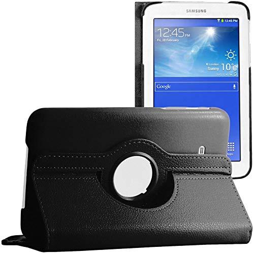 ebestStar - kompatibel mit Samsung Galaxy Tab 3 Lite 7.0 Hülle SM-T110, VE SM-T113 Rotierend Schutzhülle Etui, Schutz Hülle Ständer, Rotating Cover, Schwarz [Tab:193.4x116.4x9.7mm 7.0