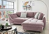 lifestyle4living Ecksofa in Rosa mit Schlaffunktion | Eckcouch Eckgarnitur Polsterecke L-Couch Sofa L Form | Moderne Wohnlandschaft inkl. Rückenkissen und Zierkissen - 3