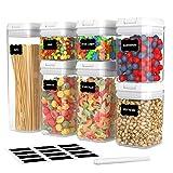 Frischhaltedosen-Set, luftdicht, für Küche und Speisekammer, BPA-frei, hält Lebensmittel frisch, trocken und organisiert, 7 Stück, mit verbesserten Deckeln, Etiketten