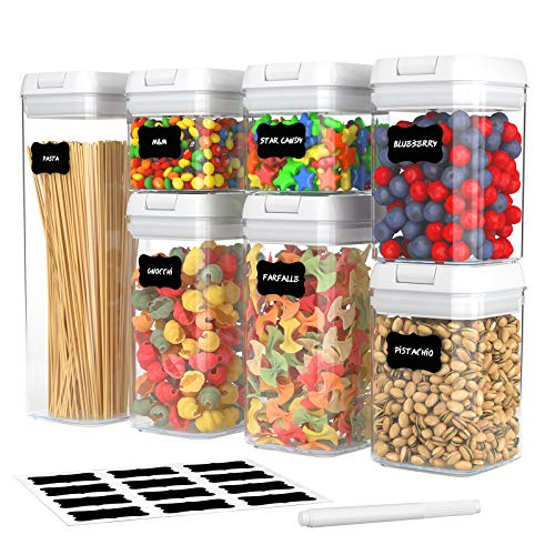 7 Pack Airtight Food Storage Container Set, Kitchen and Pantry Containers, BPA Free Containers, Keep Food Fresh, Dry and Organized,...