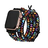 PLTGOOD 5 Wraps Watch Band Beads Bracelet Compatible with Apple Watch Band 38mm/40mm for Women Men - Adjustable Healing 7 Chakra Elastic Replacement Watch Strap for Iwatch Series 6/5/4/3/2/1/SE