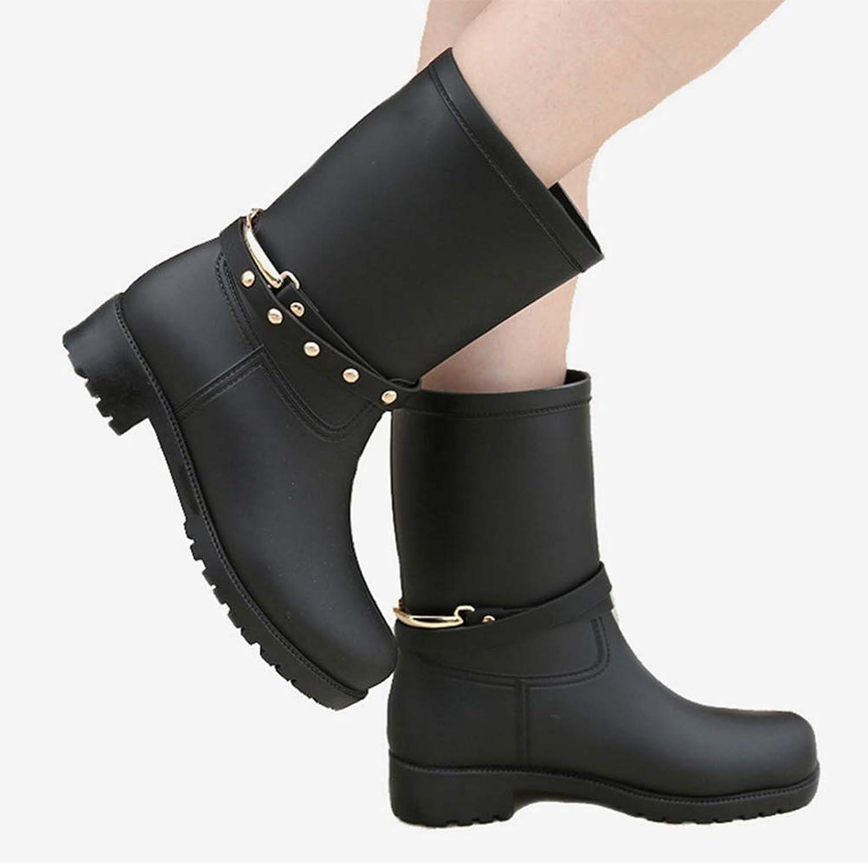 T-JULY Women's Rain Boots Mid Calf Autumn Buckle Non-Slip Rivets Ladies shoes Girls Winter Fashion Footwear