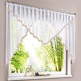 HongYa Kuvertstore transparenter Voile Gardine mit Satinbänder Kräuselband Vorhang H/B 120/300 cm Sand