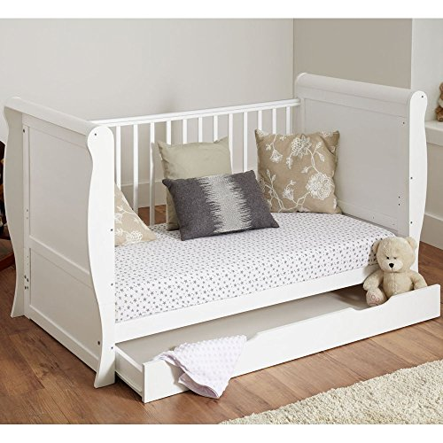 A B C Sleigh Cot Bed/Junior Bed with Drawer White Come with Fully Sprung cot Bed Mattress/Fast Delivery