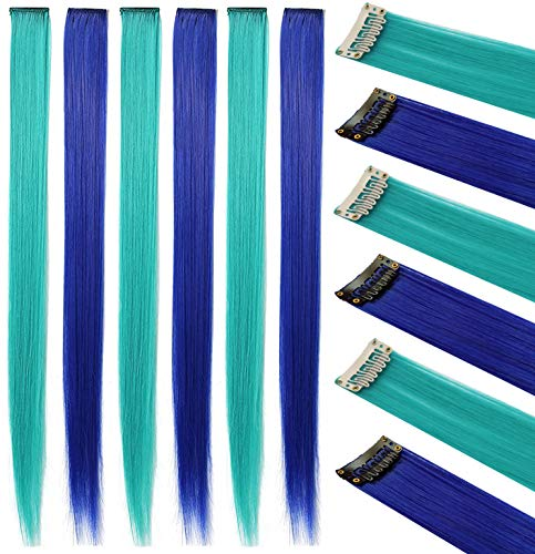 Rhyme 6PCS Princess Party Highlight Blue Teal Hairpieces Colored Hair Extension Clip in/On for Amercian Girls and Dolls Wig Pieces for Kids (Blue Teal)
