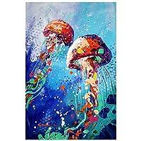 """大人のためのDIY5Dダイヤモンド絵画 フルダイヤモンドクリスタルラインストーン、家の壁の装飾のための工芸品 動物の海底クラゲギフト-12""""x16"""" 9"""