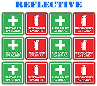 (x6 of Each) 3M Reflective Red Fire Extinguisher and Green First Aid Kit On Board Industrial Safety Training Decals (2 inch x 2 inch)
