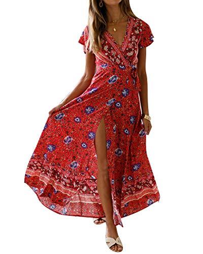 MINTLIMIT Kleider Damen Boho Sommerkleid Blumen V-Ausschnitt Kurzarm Wrap Split Maxikleid Vintage Standkleid Rot 1 M
