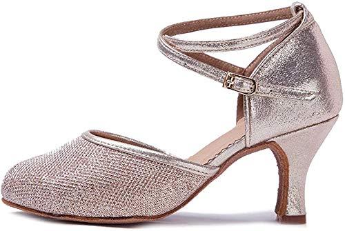 HIPPOSEUS Zapatos de Baile de Cuero sintético Brillo para Mujer con Dedos Cerrados Zapatos de Baile de práctica Zapatos de Baile de Boda estándar, Modelo WX-CL,Dorado Champagne Color,EU 37/4.5 UK
