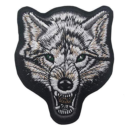 Ohrong Parche táctico bordado con diseño de lobo rugiente, con diseño de animales bordados, emblema del ejército, con gancho y bucle para hornear