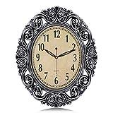 Lafocuse 18'x15' European Retro Silver Large Oval Wall Clock with Fancy Skeleton Surround Silent Filigree Quartz Clocks for Living Room Bedroom