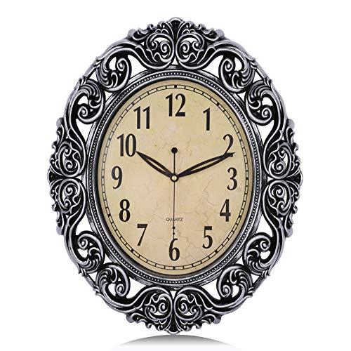 Lafocuse Reloj de Pared Grandes Plateado 46x37 cm Vintage Ovalado Retro Silencioso Reloj de Cuarzo Forma de Flor Decorativo para Salon Comedor Oficina