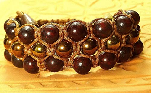 3-reihiges Shamballa-Armband aus mahagoni Obsidian Halbedelstein und Hämatit Naturstein, Sabijou