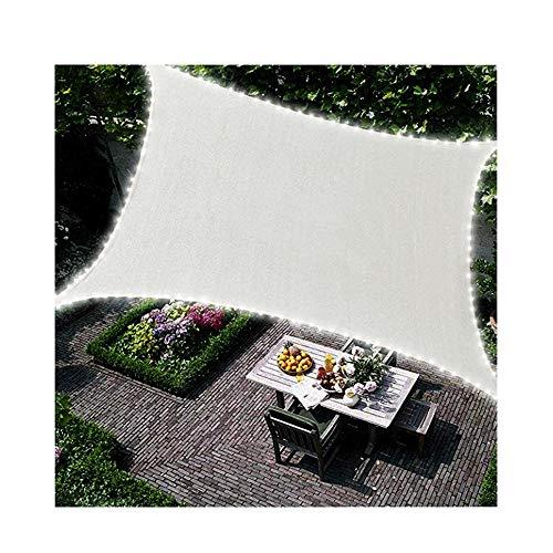 Duke-Handel Sonnensegel Rechteckig Vega Mit LED Beleuchtung Am Rand Aus Solarenergie Sonnenschutz Für Garten Oder Terrasse Wasserdicht aus Polyester (Weiß 4x3m)