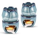 TIEMORE Horno De Aromaterapia, Quemador De Aroma, Quemadores De Cera Fundida, Quemadores De Aceite Esencial, Difusor De Vela De Cerámica, Quemador De Cera De Tulipán para El Hogar