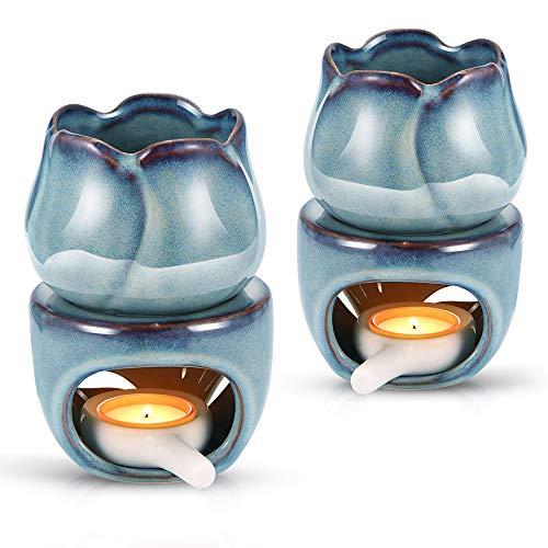 LTXDJ Bruciatori a NAFTA, Bruciatori a Cera in Ceramica Bruciatore a Olio Essenziale di Tulipano Fornace per aromaterapia per la Meditazione della Decorazione della Camera da Letto Domestica