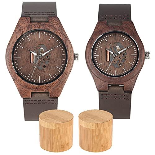 LOPIXUO Café marrón Grabado Madera de Nogal Relojes de Pareja Caja de Almacenamiento de bambúReloj de Pulsera de Cuero Hombres Mujeres Reloj de Madera de Cuarzo, Reloj de Pareja con Caja
