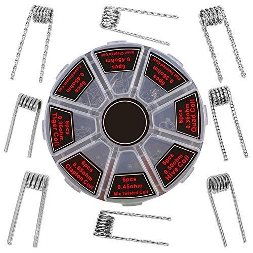 Diameter3.0//24GA//0.32ohm RDTA DEKPRO 100PCS Stainless Steel Prebuilt Coils Vape Coil Kit Alien Clapton Pre made Coils Perfect for RDA RBA