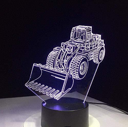 Excavadora de luz nocturna 3D para máquina excavadora 3D LED de luz nocturna cambio de ambiente lámpara táctil Vision lámpara acrílica, regalo de cumpleaños para niños con interruptor remoto