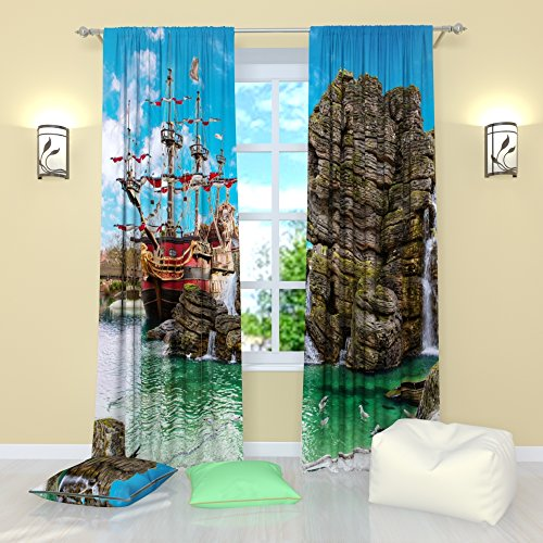 Factory4me Landscape Curtains Water Tortuga pier. Window Curtain Set of 2 Panels Each W42 x L84 Total W84 x L84 inches Drapes for Living Room Bedroom Kitchen