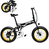 Bicicleta Eléctrica de Montaña Plegable 500W 35km/h Ruedas Anchas de 20 x 4 Pulgadas para Hombres Mujeres Removible Bateria de Litio 48V 10,4AH Aluminio Bicicleta de Carretera Playa Nieve [EU Stock]
