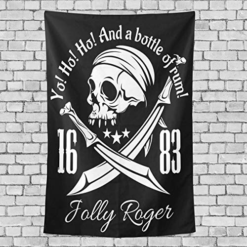 CHSUNHEY Tapisserie Retro Skull Skeleton Tapestry Pirates Jolly Roger Tapestry Wall Hanging Hippie Bohemian Tapestries for Beach Blanket,Pick Nick Blanket,Table Cloth Wall Art 50\