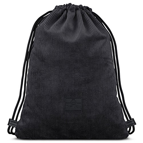 Johnny Urban Turnbeutel Hipster Anthrazit/Schwarz Finn Cord Gymsack Gym Bag Beutel Sportbeutel Rucksack für Damen & Herren mit Innentasche - Retrooptik aus Cord und veganem Leder