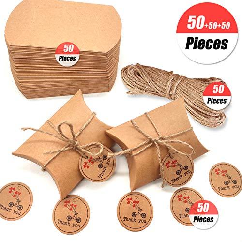 Caja de regalo Candy de papel Kraft, caja de almohadas para bodas, fiestas de cumpleaños, 50 unidades, Pillow...