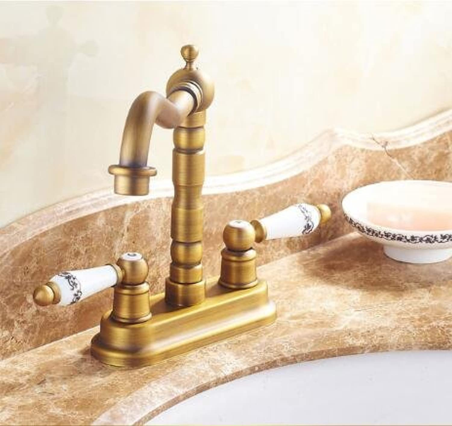 Maifeini ?Antique Bathroom Sinks Faucets Brass Bathroom Faucet Double Handle Double Hole Cold Water Heat Sink Tap Tap Deck Inssizetion