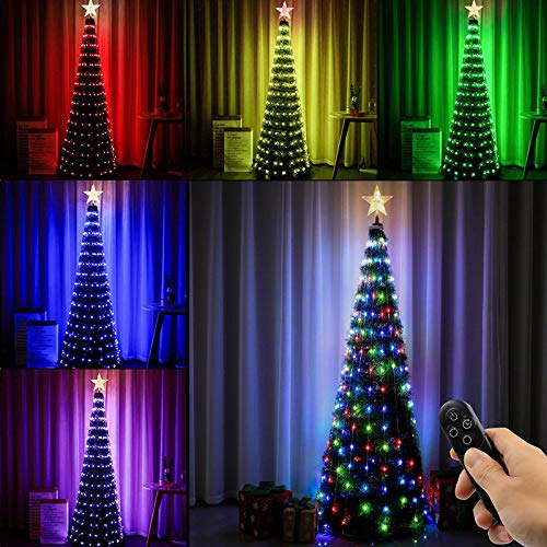 Joomer Christmas Tree with Lights, 6ft Artificial Collapsible Christmas Tree with Star Tree Topper and 314 LED Color Changing Lights, 18 Lighting Modes, Remote Control & Timer Function, Easy Assembly