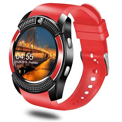 Armband Sport Uhr Mit SIM Kartenschlitz, Intelligent Armbanduhr Mit Camera Smart Watch Schrittzähler Schlaftracker Pulsmesser Kompatibel Mit Android,Rot