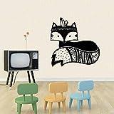 wZUN Sticker Mural Renard Woodland Renard Vinyle Autocollant Animal Tribal Sticker Mural bébé Chambre d'enfant Sticker Mural 42X40 cm
