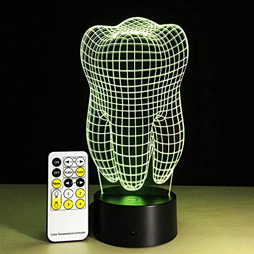 Tooth 3D Night Light Changeable Mood Lamp Led Light Usb Decorative Lamp With Remote Or Touch Control Hospital Decor