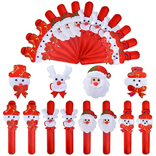 Aileam 24PCS Christmas Slap Bracelets Kids Xmas Snap Wristband Party Favors Slap Bracelets Decorations Gifts with Santa Claus Snowman Elk for Girls and Boys