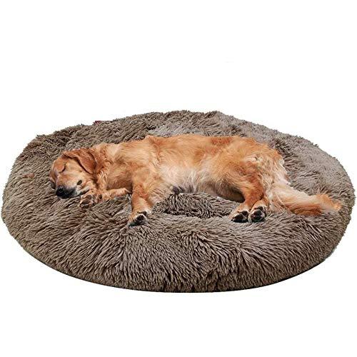 'N/A' Jumbo Dog Beds Lavable Redondo Piel De Piel Donut Cuddler - Canasta De Sleep Soft Soft Mascota para Perro Extra, Gato(Size:XL(100×100cm),Color:marrón)