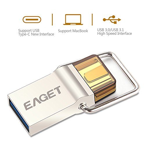 Eaget CU10 Type C OTG USB 3.0 High Speed Flash Drive for Cell Phones and Tablet PCs,Water Resistant,Shock Resistant,Compact Size,Key Ring Included,64GB