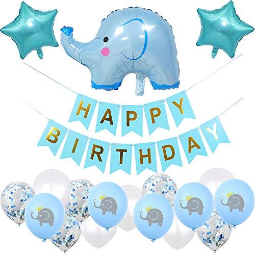 witgift Elefante Babyparty Junge Geburtstagsdeko,Baby Boy Elefant Luftballons Geburtstag Dekoration,Happy Birthday Girlande für Baby Shower Kindergeburtstag Deko (Junge)
